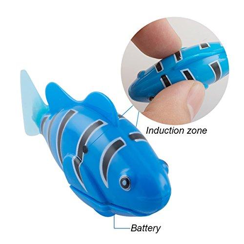 Scenstar Robo-Fisch Clownfisch Lebensechte Bewegungen, Auf- und Abtauchen | Wasserspaß für Kinder | elektronisches Wasser-Spielzeug Deep Sea Wimplefish, elektronisches Haustier bunt - 7