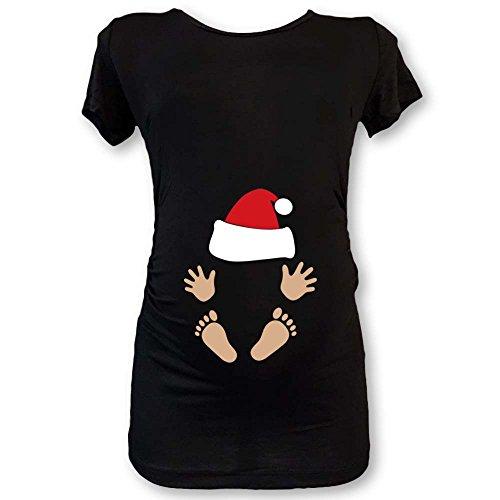 T shirt natale maglia premaman idea regalo di natale babyclaus nera xl manica lunga