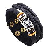 Herren Lederarmband mit Wolfram-Stahl-Charm-Snap-Armband aus Zwei Strängen geflochtenes Leder mit Knopfverschluss fünfzackige sternlegierung mit Schnalle Hand
