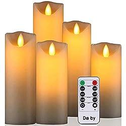 Bougies LED de Daby, Ensemble de 5 Bougies décoratives (14 cm, 15 cm, 16 cm, 18 cm, 20 cm), Bougie sans Flamme de 300 Heures avec télécommande à 10 Touches.Flamme LED Clignotante, Faite de Vraie Cire