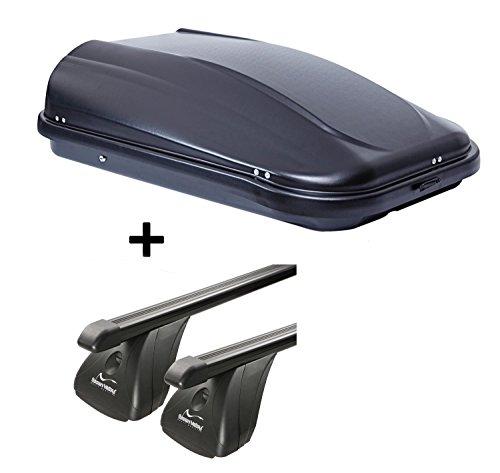VDP Dachbox JUPRE320 320Ltr schwarz glänzend abschließbar + Stahl Dachträger Aurilis Original für Hyundai i30 II (Schrägheck 3-5Türer) 2012-2017