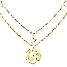 cuoka Goldkette Damen mit Weltkarten Anhänger 925 Sterling Silber  Doppelkette Halskette Schmuck für Frauen Madchen Kettenlänge 8e041bceb1