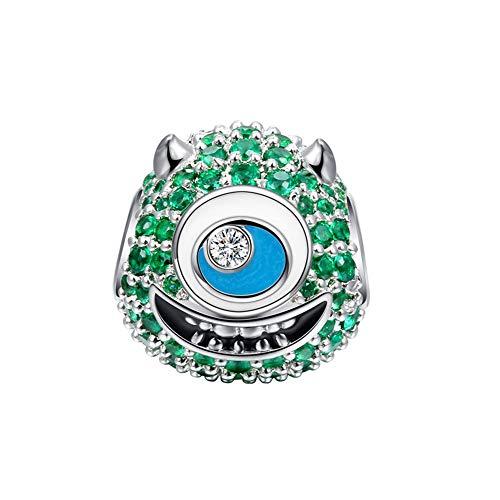 GNOCE Mike Wazowski Monster Charm Anhänger 925 Sterling Silber Perle Charms mit Grün Zirkonia Charm Schmuck für alle Armbänder Halsketten Geschenke Bijouterie für Halloween Damen Mädchen