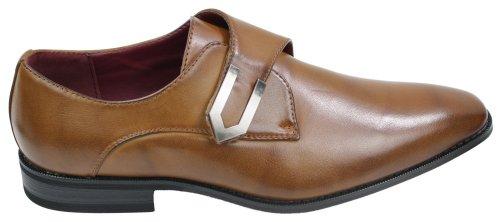 Chaussures homme mocassins marron clair cuir et simili design italien avec boucle métal style chic TAN BRUN