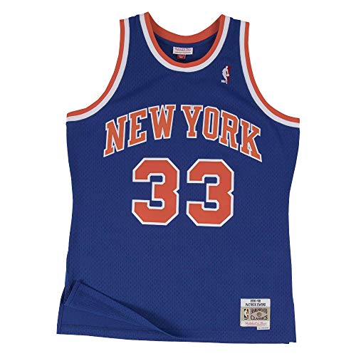 Mitchell&Ness M&N Maglia retrò da Uomo Swingman NBA con Adesivo da 7kmh New York Knicks - Patrick Ewing S