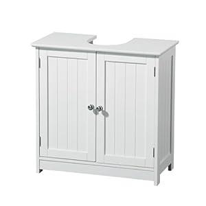 Premier Housewares – Mueble para Debajo del Lavabo (Madera, 2 Puertas), Color Blanco