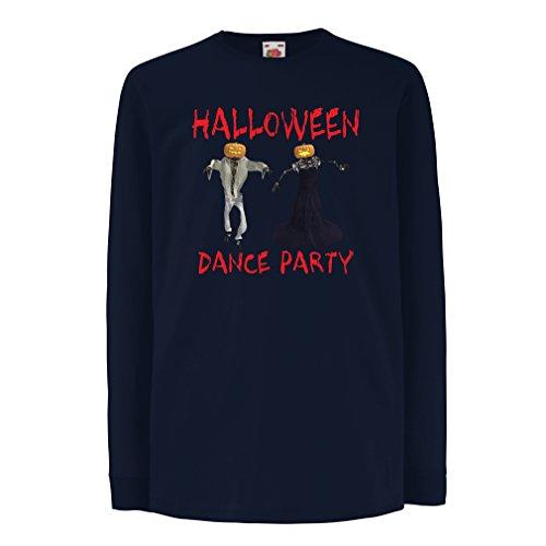 Kinder-T-Shirt mit langen Ärmeln Coole Outfits Halloween Tanz Party Veranstaltungen Kostümideen (7-8 years Blau (Song Kostüm Gruppe)