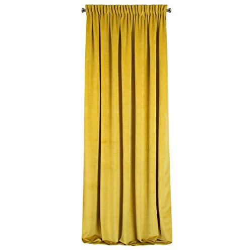 Eurofirany Verdunkelnd Velvet Senf Samt Vorhänge Weich Kräuselband Edel Elegant Hochwertig Glamour Schlafzimmer Wohnzimmer Lounge, 140X270cm