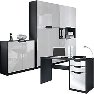 Vladon Büromöbel Arbeitszimmer komplett Set Logan, Korpus in Schwarz matt/Fronten in Weiß Hochglanz