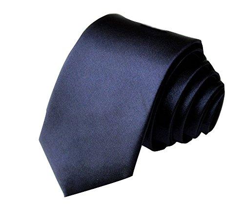 ILOVEDIY Cravate Slim Hommes 5cm - Cravates élegante mince faite à la main pour costume mariage chemises soirée (bleu marin)