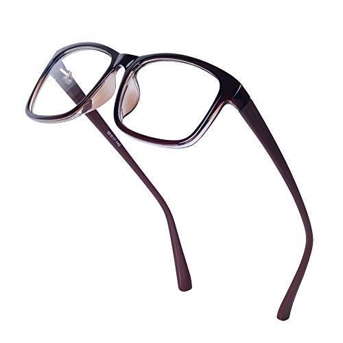 4da586db32843 JoXiGo Brillenfassung Damen Herren Retro Rahmen Rechteckig Klare Gläsern Ohne  Stärke Nerd Brille mit Brillenetui - Braun