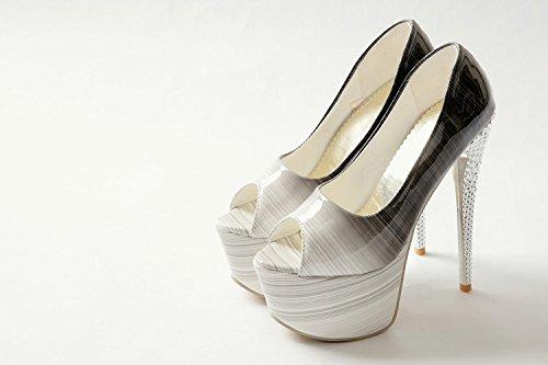 Wywq Femmes Dames Haut Talon Plate-forme Étanche Antidérapante Plate-forme Chaussures Bouche Sandales Parti Chaussures De Mariage