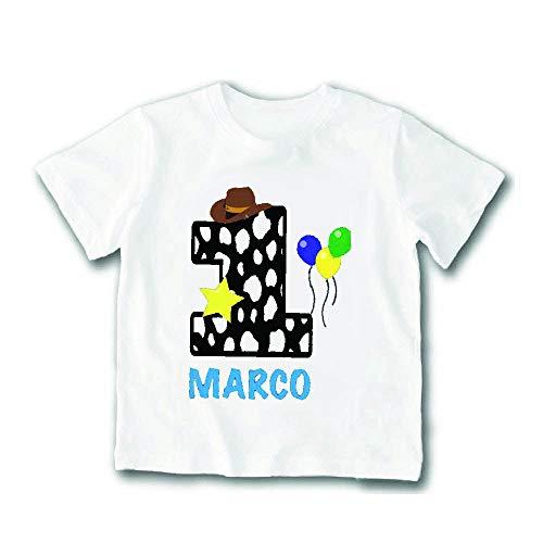 Altra marca t-shirt bimbo maglietta personalizzata per feste di compleanno nome personalizzato 1 anno maglia bambino per compleanni (1-2 anni, bianco)