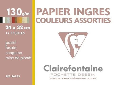 ClaireFontaine - 96775C - Pochette Dessin INGRES 12 Feuilles 24x32cm 130g Coloris Assortis vendu à l'Unité