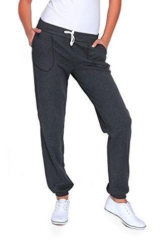 futuro fashion Damen Sport volle Länge Fleece Jogginghose mit Taschen mit Manschetten gym-hosen Joggen DK Graphit