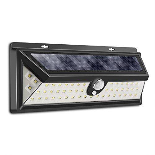 ONEVER 54 LED-Sonnenenergie-Licht Menschen Infrarot-PIR Bewegungs-Sensor-Wand-Lampe im Freien Sicherheits-Nachtlicht-wasserdichte Lampe f¨¹r Garten-Yard-Pathway Wand Patio Deck Steps (Voll-spektrum-lampen-set)