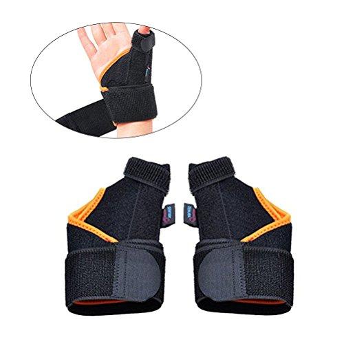 rosenice Paar provectus Daumenschiene Unterstützung Handgelenk Brace Strap für Karpaltunnelsyndrom Verstauchung Arthritis Schmerzlinderung (links + rechts in Pure schwarz und orange Farbe) -
