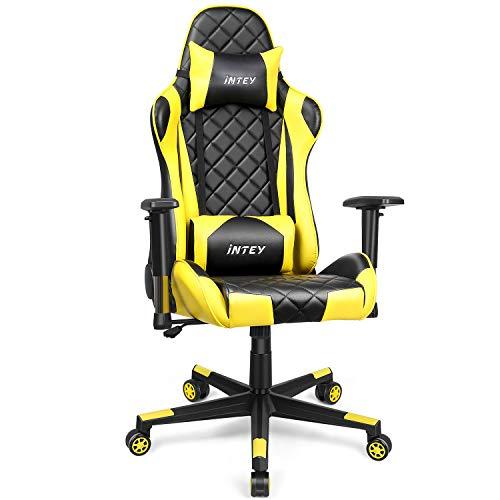 INTEY Gaming Stuhl, Computerstuhl Gaming Sessel ergonomisches Design, verstellbare Armlehnen und Wippfunktion, höhe Rückenlehne - Hohe Rückenlehne Ergonomischer Stuhl