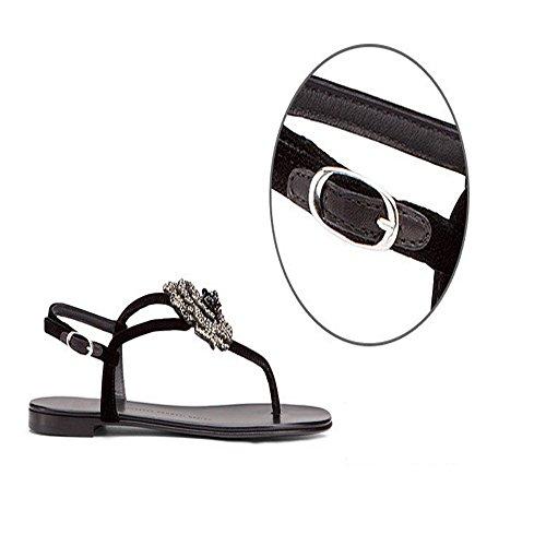 Bohemian scarpe basse 2017 estate nuova strass perizoma femminili parola vuota scarpe di cuoio fibbia Nero