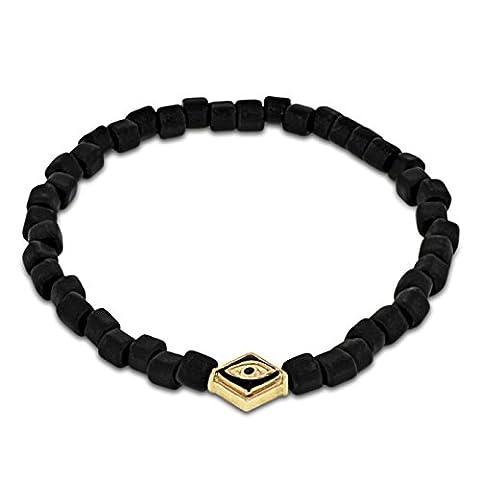 LUIS MORAIS 14ct Yellow Gold Evil Eye with Black Enamel Lozenge and Sapphire Bracelet