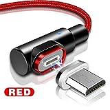 i-Tronixs (Rouge) 2M Angle Droit, 90 Degrés [Forme L] Cordon de Charge tressé en Nylon magnétique Syncde données USB Powerline [Charge Rapide] Câble Durable pour Yezz Andy 4EL2 LTE