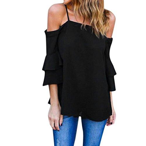 OverDose Damen Mode Sommer Chiffon Tops Bluse Oberteile Frauen Schulterfrei Tank Top Bell Sleeve Lose beiläufige Hemdbluse Shirt(Black,XL) (Bell Sleeve Top)