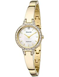 Accurist Women's Quartz Watch with Mother of Pearl Dial Analogue Display and Gold Stainless Steel Bracelet Lb1584P
