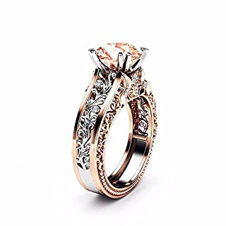 WSSB-Womens Fashion Exquisite Ring Fashion Women Color Separation Rose Gold Wedding Engagement Floral Ring