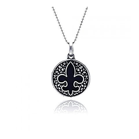 Oxidized Fleur De Lis With Onyx Pendant (Chain Not Included)