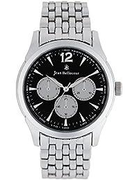 Reloj hombre JEAN Bellecour de cuarzo reloj negro 42 mm y pulsera en alloy plateado jb1061