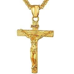 Idea Regalo - U7 Collana Pendente Crocifissa in Acciaio Inox Placcato Oro 18K, Gesù INRI Cristo Croce Gioiello Cristiano, Catena Regolabile 50-55 cm, Confezioe Regalo, Medio
