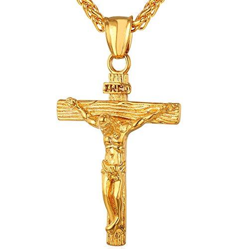 U7 Kreuz Halskette Edelstahl INRI Kruzifix Jesus Christus Anhänger mit 55cm Kette 18k vergoldet Katholischen Christian Schmuck für Damen Herren, Gold-Ton