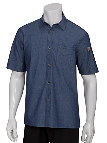 Chef Works SKS002-IBL-XL Detroit Short-Sleeve Denim Shirt, Indigo Blue by Chef Works -