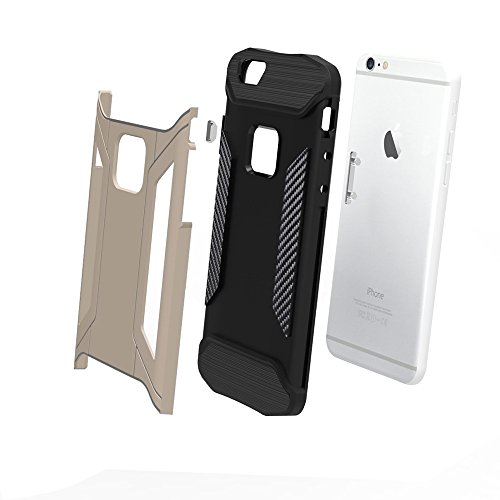 Phone case & Hülle Für iPhone 6 / 6s, TPU + PC Stahl Rüstung Kombination Fall ( Color : Black ) Gold