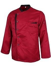 F Fityle Chaqueta de Chef Túnica con Pechera Única Transpirables Uniforme  de Chef Camarero Hotel Panadería 7b3ceece2b2