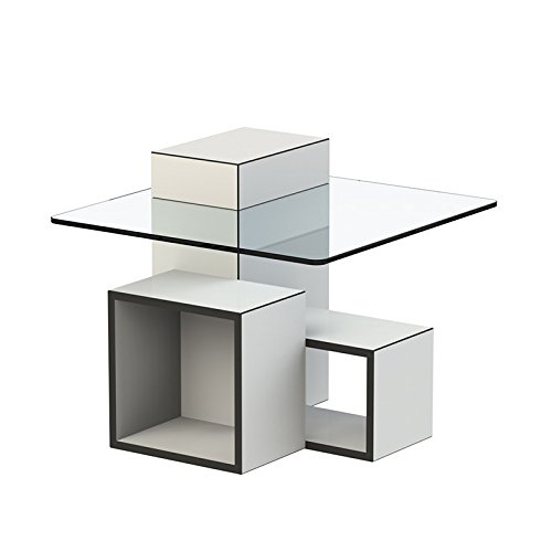 Paris Prix - Temahome - Table D'appoint Design Gutta Verre & Blanc Mat