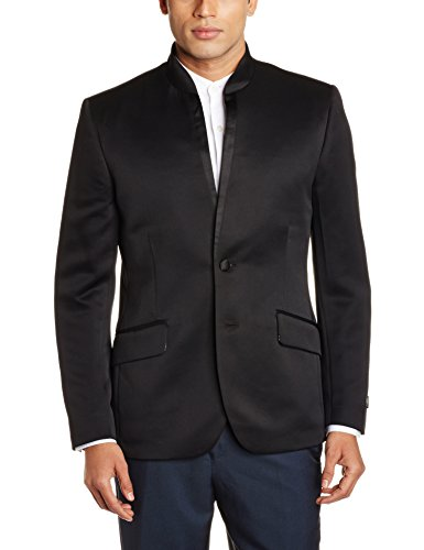 Van Heusen Men's Slim Fit Blazer (8903988217175_VDBZ1E00342_36_Black with Grey)  available at amazon for Rs.2999