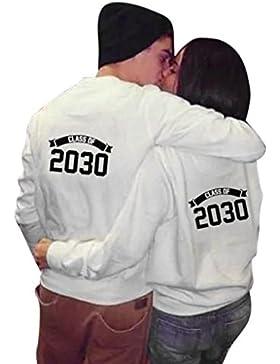Rawdah Mujeres Clase De 2030 Carta De Impresión De Manga Larga Camiseta Top Camisa Blusa Pareja