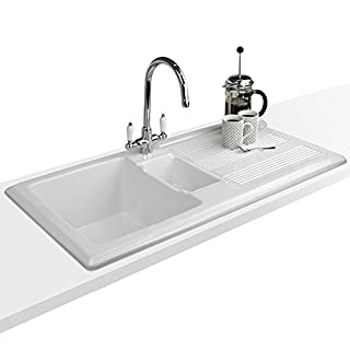 Astini Canterbury 150 1.5 Bowl Gloss White Ceramic Kitchen Sink, Waste & Colonial 7018/CP/WL Tap