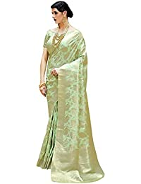 AKHILAM Women's Banarasi Silk Blend Saree with Unstitched Blouse Piece (Green_Free Size)