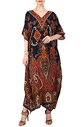 Miss Lavish London Women Kaftan Tunic Kimono Free Size Long Maxi Party Dress for Loungewear Holidays Nightwear Beach Everyday Cover up