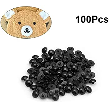10MM 50PCS Diameter 10MM Black Plastic Safety Eyes Buttons Noses Mushroom Beads for DIY Sewing Craft and Bear Doll Puppet Animal Stuffed Toys