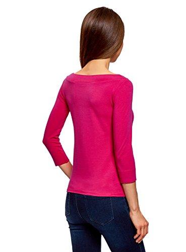 oodji Collection Damen T-Shirt mit 3/4-Arm Rosa (4700N)