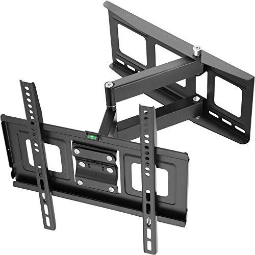 TecTake 400967 TV Wandhalterung für Flachbildschirme, neigbar und schwenkbar, passend für 81cm (32 Zoll) - 140cm (55 Zoll), max. VESA 400x400, belastbar bis 70kg, Wandabstand 6,7cm