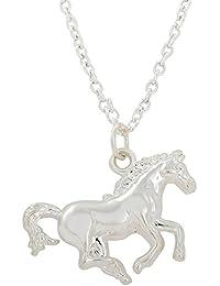 Cute pony placcato rodio corsa cavallo ciondolo collana per adolescenti e bambini regalo gioielli