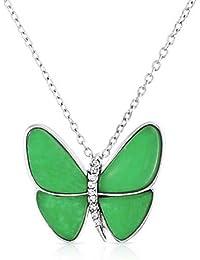 Bling Jewelry Jade Verde Mariposa Collar colgante de Cristal 16 en