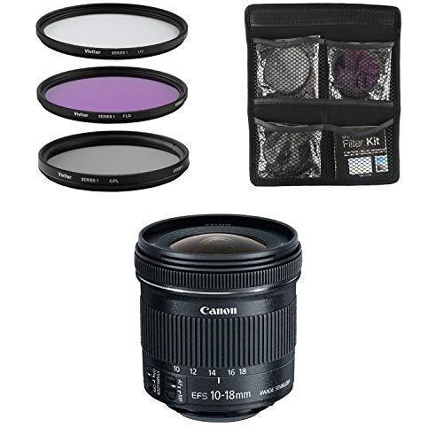 Canon Objektiv - EF-S 10-18mm 1:4.5-5.6 is STM - Weitwinkel-Objektiv für Spiegelreflexkameras + 3-Teiliges Filterset UV, FLD, CPL - Schwarz