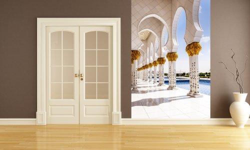 Bilderdepot24 Vlies Fototapete - Weiße Moschee in Abu Dhabi - 200x300 cm - mit Kleister - Poster - Foto auf Tapete - Wandbild - Wandtapete - Vliestapete