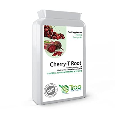 Cherry-T Root 60 Capsules - Montmorency Cherry & Beetroot Complex - Natural Iron & Energy Support Antioxidant - UK Manufactured to GMP Guaranteed Quality