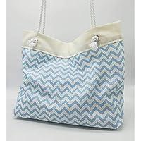 Bolso grande de playa azul claro, totalizador, vacaciones, verano, bolsa de playa